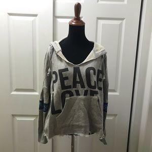 Vintage Havana Grey Bandana Peace &Love Sweatshirt